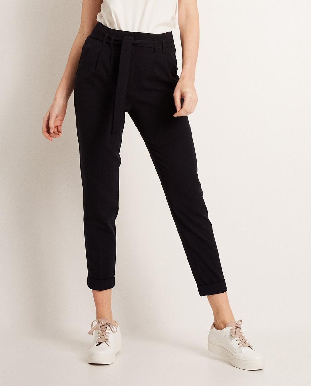 Pantalons - navy - Pantalon paperbag waist